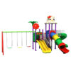 Kitty & Flower Swing And Slides Mini Metal Playground & Playset For Kids Amusement - Multicolour