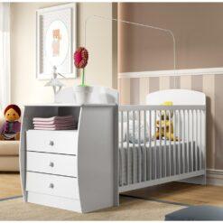Wooden Baby Crib/Dresser - White Color 0516
