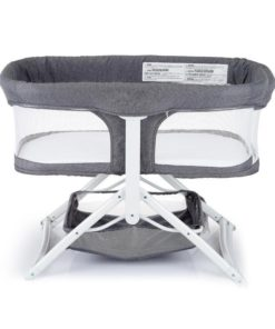 Pamo Babe 2in1 Bassinet Quick Foldable Travel Crib Portable Rocking Bassinet (Gray)