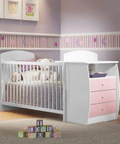 Wooden Baby Crib/Dresser – Pink 0516 Brazil