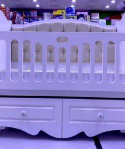 Wooden Baby Crib White color with Velvet Bumper