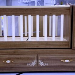 Wooden Baby Crib With Side Drawer Brown & Beige