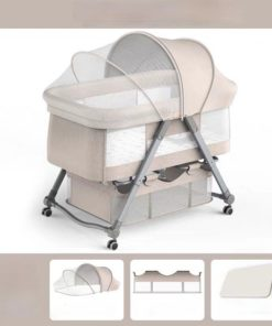 Baby Crib Cradle Newborn Movable Portable Nest Crib Baby Travel Bed Beige