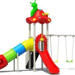 Mushroom Kids Outdoor Playground Amusement Park with Slide And Swing