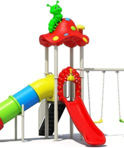 Mushroom Kids Outdoor Playground Amusement Park with Slide And Swing