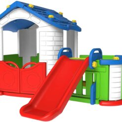 CHD-354 Red Big house with slide / CHD-803 Big Happy Playhouse with Slide 1. happy pink big house 2. funny slide 3. cute door 4. play zone 5. over 18 months 6. colors may vary 7. made in korea Product size 2400(L) x 1080(W) x 1190(H) Packing 1pc/carton, 152pcs / 1x40'HQ container Box size 1235(L) x 485(W) x 725(H) Weight N.W. : 21.7 KG G.W. : 24.2 KG