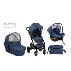 BURBAY baby stroller 3 in 1 with car seat carry cot E70 BLUE