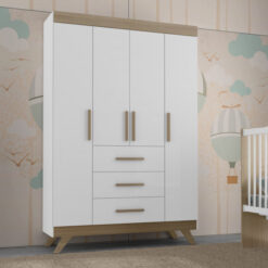 Retro White/Wenge Dresser Vitória Móvies Wardrobe Big Size