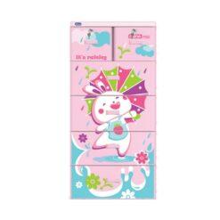 Plastic Cabinet Rabbit 5 Drawers Pink