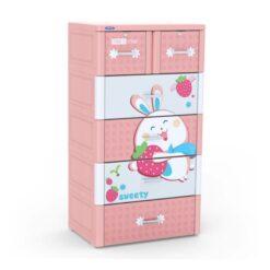 Plastic Cabinet TABI-L 5 floors (Pink - Rabbit Strawberry)