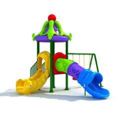 Kids Playground with 2 persons swing, 2 slide and 1 dome SIZE: N01404