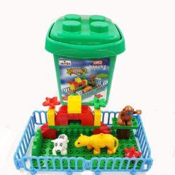 Zoo Park Building Block Set In Plastic Bucket