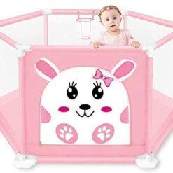 Babyfit Playpen for Kids, Playard Indoor Child Safety Fence with 50 Balls (Pink)