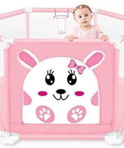 Babyfit Playpen for Kids, Playard Indoor Child Safety Fence with 50 Balls (Pink)