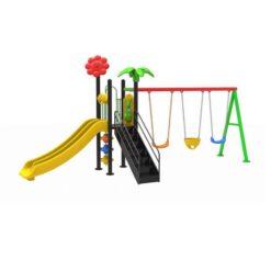 Kids Outdoor Slides And 3-Swing N03207