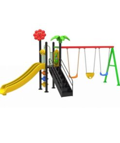 Kids Outdoor Slides And 3-Swing N03207