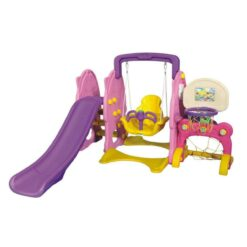 Pink and Purple Swing and Slide Set with Basketball Net