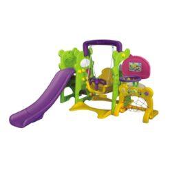 Swing and Slide Set with Basketball Net Green Purple Yellow