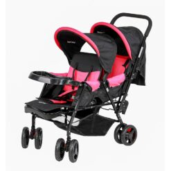 Baby Plus - Twin Stroller With Reclining Seat - Pink BP-7743