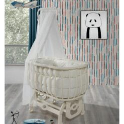 Monami Baby Bed Stella-9404 With Canopy-White & Beige