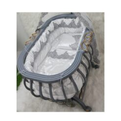 Monami Baby Bed Royal With Mosquito Net-Gray & Cream
