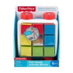 Fisher-Price Pull-Along Activity Blocks, Toy Wagon for Babies-GJW10