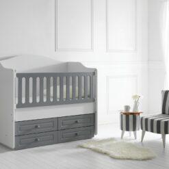Happy Wooden Baby Cradle Bed White/Grey/TR-6464-01