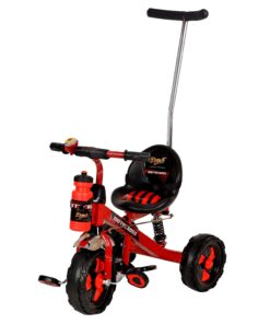 This trendy tricycle is made with a heavy duty steel frame which is sturdy and long lasting. Its Jumbo sized Rubber wheels helps in easy maneuvering. It has Wide paddle for smooth mobility. It has cushioned seat with high back rest for the comfort of the tender backs of the kids.
