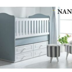 Nanny Baby Wooden Cradle bed With Drawer TR-7714-08-Grey/White