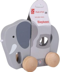 Hape Elephant Wooden Push and Pull Toddler Toy - E0908