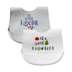 Hudson Baby Unisex Baby Silicone Bibs-White