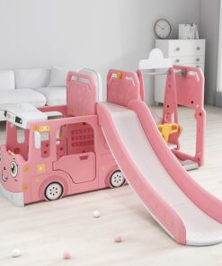 Bus Kids 3 in 1 Outdoor Play Structure Jumbo Slide with Swing And Play House-Pink