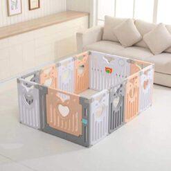 Baby Play Zone Baby Play Yard Activity PlayPen Safety Lock Playpen-Beige