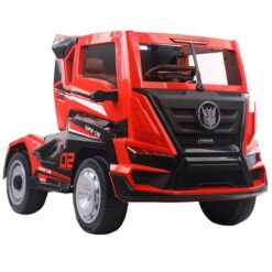 Kids Rechargeable 12V Clunker Truck With Back Trailer Rubber Tyres & Leather Seats Red 2020