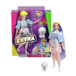 Barbie Extra Doll-Beanie in Shimmery Look With Pet Puppy, Pink & Purple Fantasy - GVR05