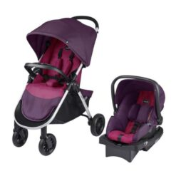 Evenflo Folio Tri Fold All in 1 Reliable Durable Baby Travel System, Blackberry - G2800