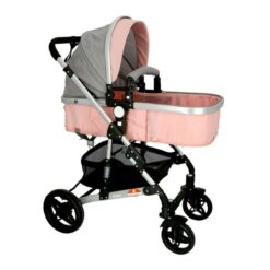 Baby Stroller Pram Pink With Compartment For Baby Bottle - BP9068
