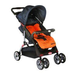 Baby Plus - Stroller Cum Pram - Navy Blue/Orange - BP4959